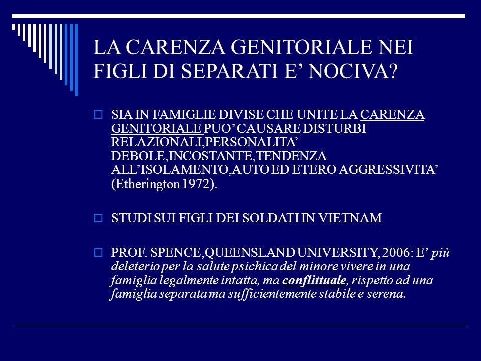 F.CANZIANI-2000:IL DISAGIO NEI FIGLI DI SEPARATI E INFERIORE A QUELLO DI FAMIGLIE CONFLITTUALI IN GRAVIDANZA PROBLEMI SCARSI,DA STRESS MATERNO PIU ALTI TRA I 3-6 E 10-15 ANNI 0-3 ANNI: ANSIA, FOBIA GENITORIALE 3-6 ANNI:IPERREATTIVITA, REGRESSIONE,DEPRESSIONE,ANSIA DI PERDERE IL SECONDO GENITORE 7-9:CONFLITTO DI LEALTA,IDENTIF.SESS.