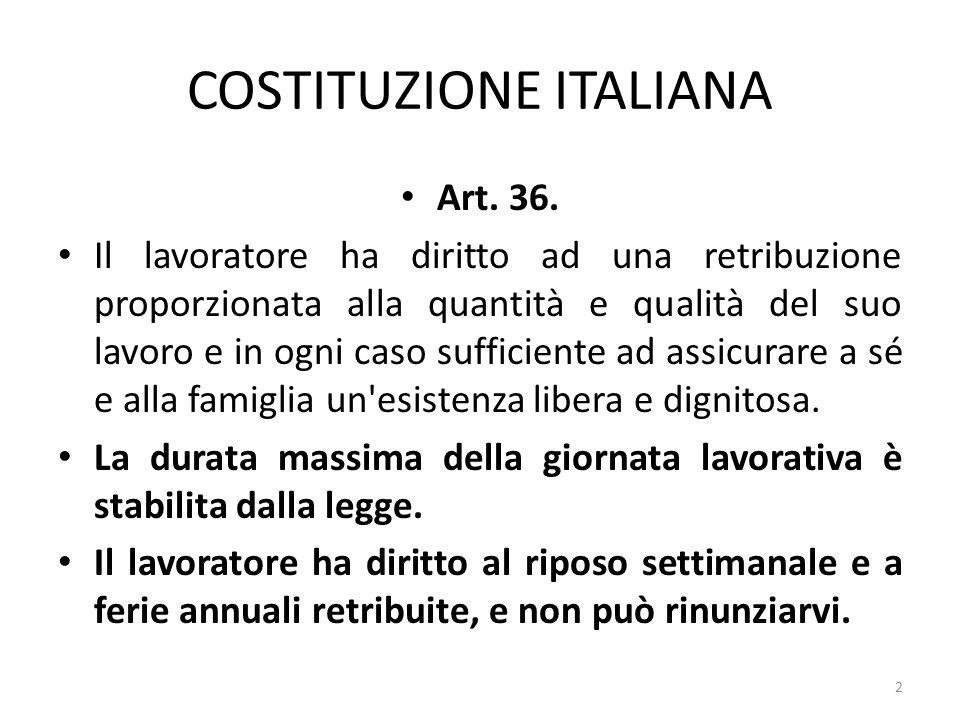 COSTITUZIONE ITALIANA Art. 36. Il lavoratore ha diritto ad una retribuzione proporzionata alla quantità e qualità del suo lavoro e in ogni caso suffic