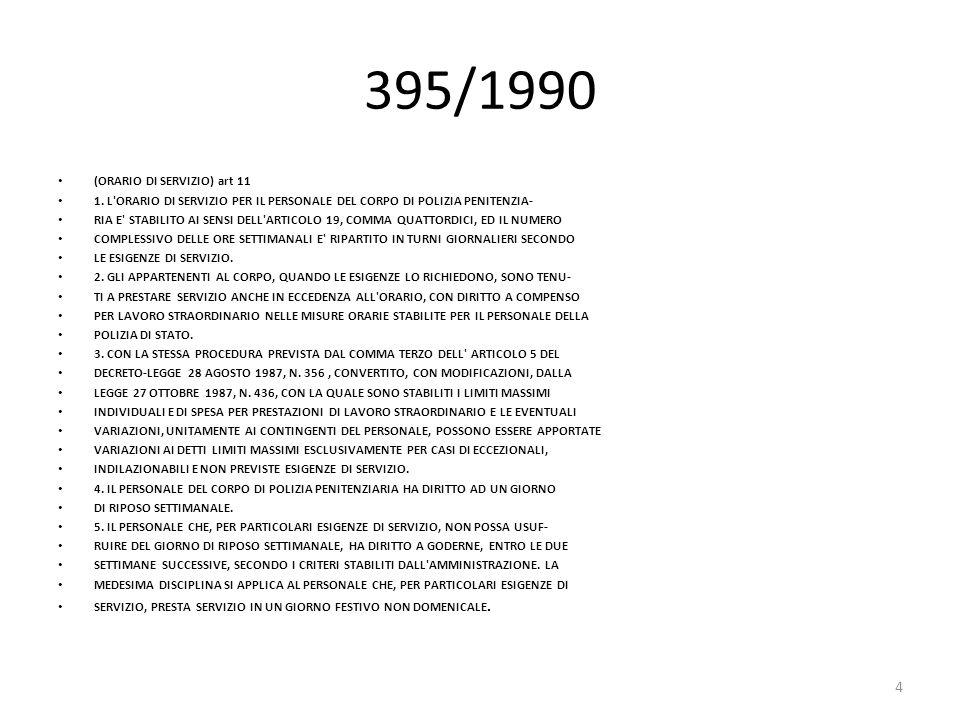 395/1990 (ORARIO DI SERVIZIO) art 11 1. L'ORARIO DI SERVIZIO PER IL PERSONALE DEL CORPO DI POLIZIA PENITENZIA- RIA E' STABILITO AI SENSI DELL'ARTICOLO
