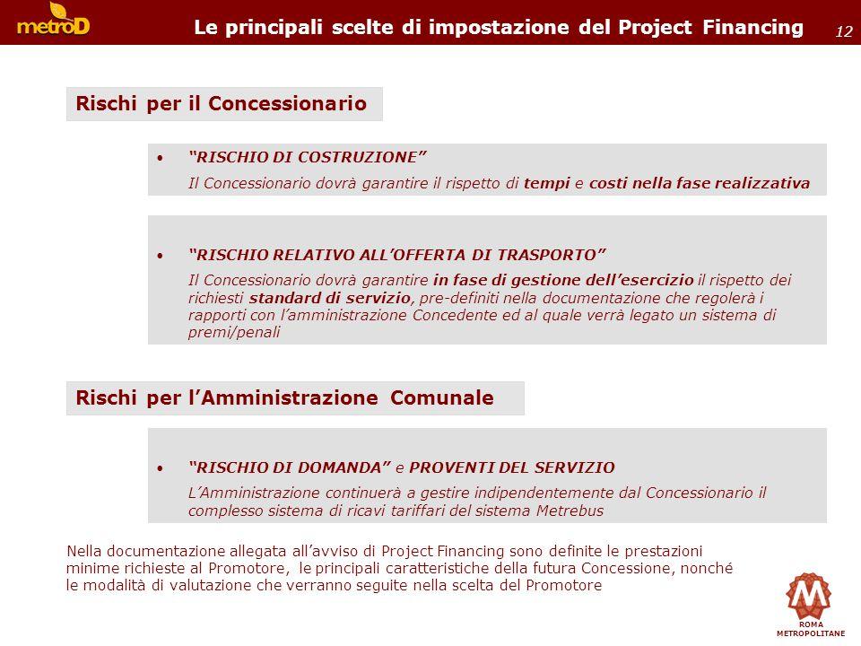 ROMA METROPOLITANE 12 RISCHIO DI COSTRUZIONE Il Concessionario dovrà garantire il rispetto di tempi e costi nella fase realizzativa Le principali scel