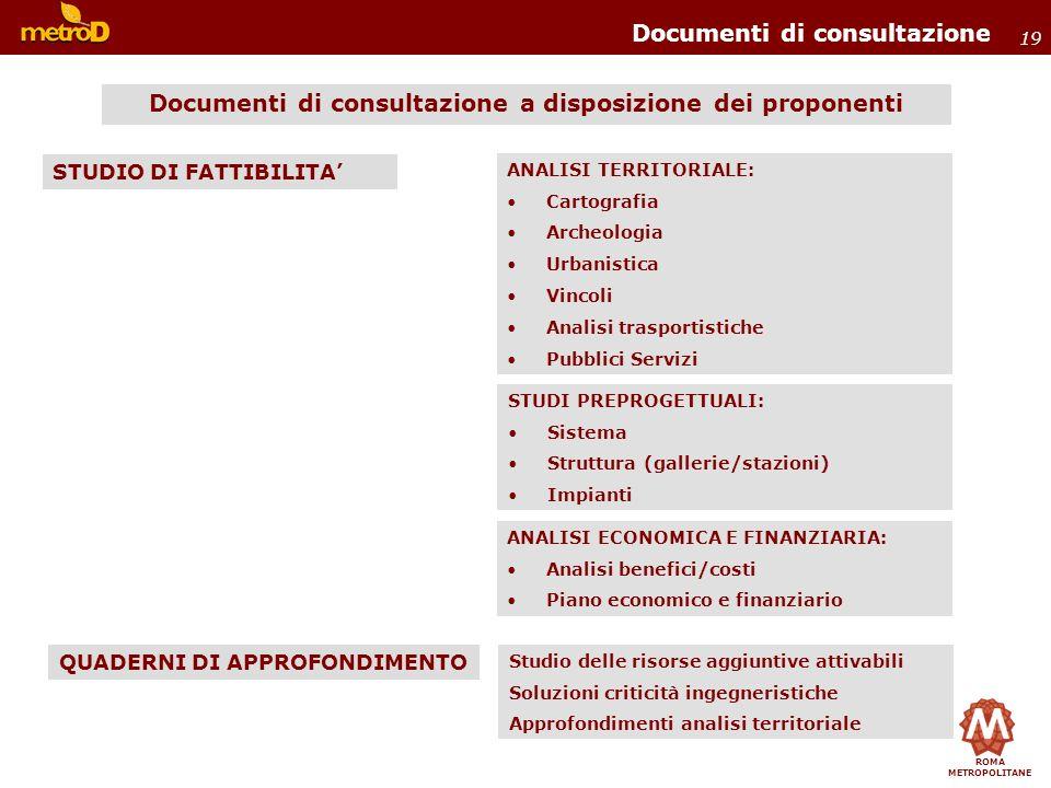 ROMA METROPOLITANE 19 Documenti di consultazione Documenti di consultazione a disposizione dei proponenti ANALISI TERRITORIALE: Cartografia Archeologi