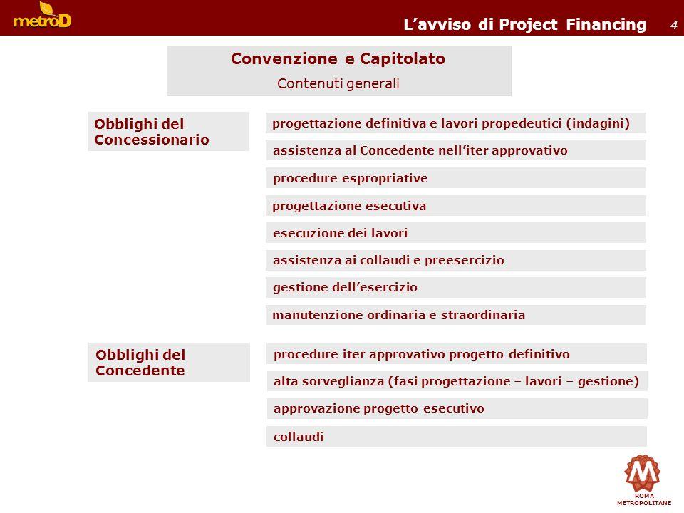ROMA METROPOLITANE 4 Lavviso di Project Financing progettazione definitiva e lavori propedeutici (indagini) Obblighi del Concessionario Convenzione e