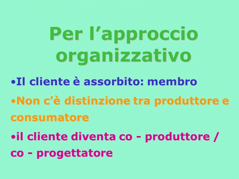Per lapproccio organizzativo Il cliente è assorbito: membroIl cliente è assorbito: membro Non cè distinzione tra produttore e consumatoreNon cè distinzione tra produttore e consumatore il cliente diventa co - produttore / co - progettatoreil cliente diventa co - produttore / co - progettatore