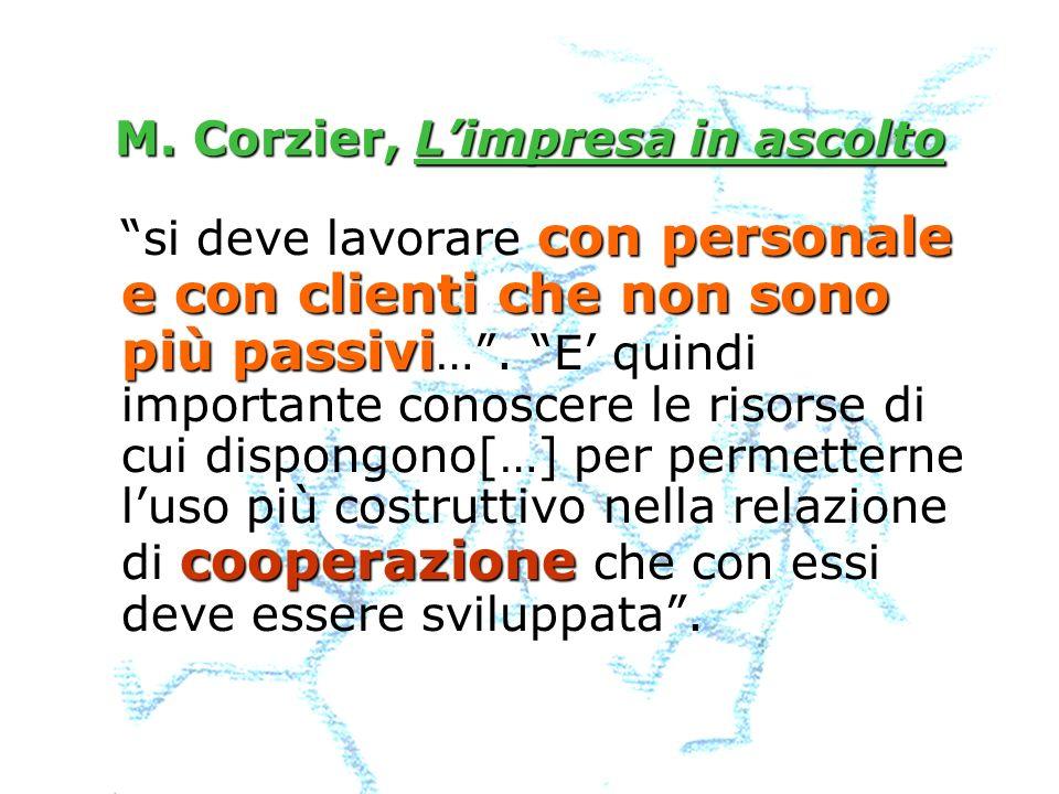 M. Corzier, Limpresa in ascolto con personale e con clienti che non sono più passivi cooperazione si deve lavorare con personale e con clienti che non