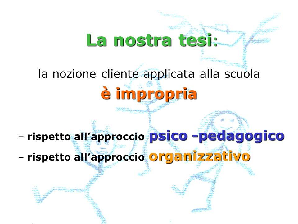 la nozione cliente applicata alla scuola è impropria – psico -pedagogico –rispetto allapproccio psico -pedagogico – organizzativo –rispetto allapproccio organizzativo La nostra tesi : La nostra tesi :