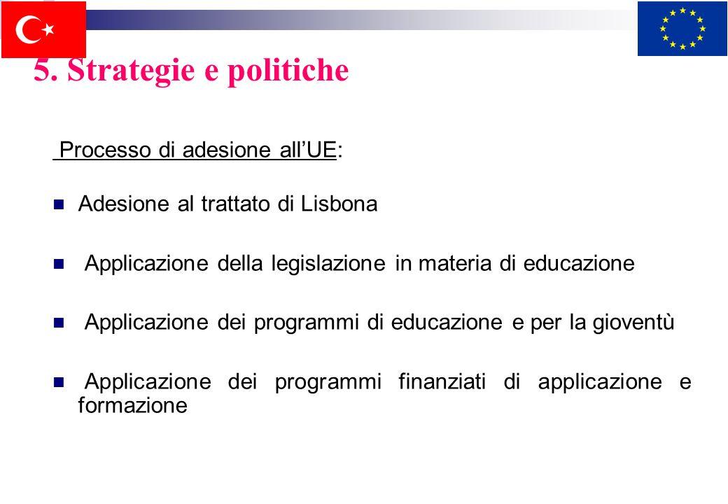 5. Strategie e politiche Politiche: sviluppare listruzione e la modernizzazione dei curriculum provvedere alla formazione dellinsegnante e alla qualit