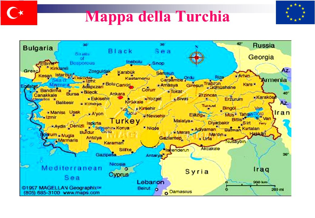 1.Geografia e popolazione Situata tra lEuropa e lAsia, la Turchia è un passaggio tra questi due continenti. La parte europea e quella asiatica sono di