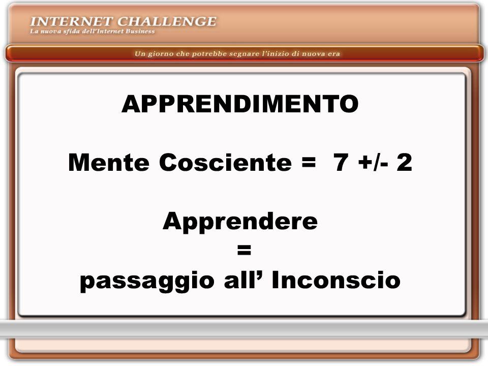 APPRENDIMENTO Mente Cosciente = 7 +/- 2 Apprendere = passaggio all Inconscio