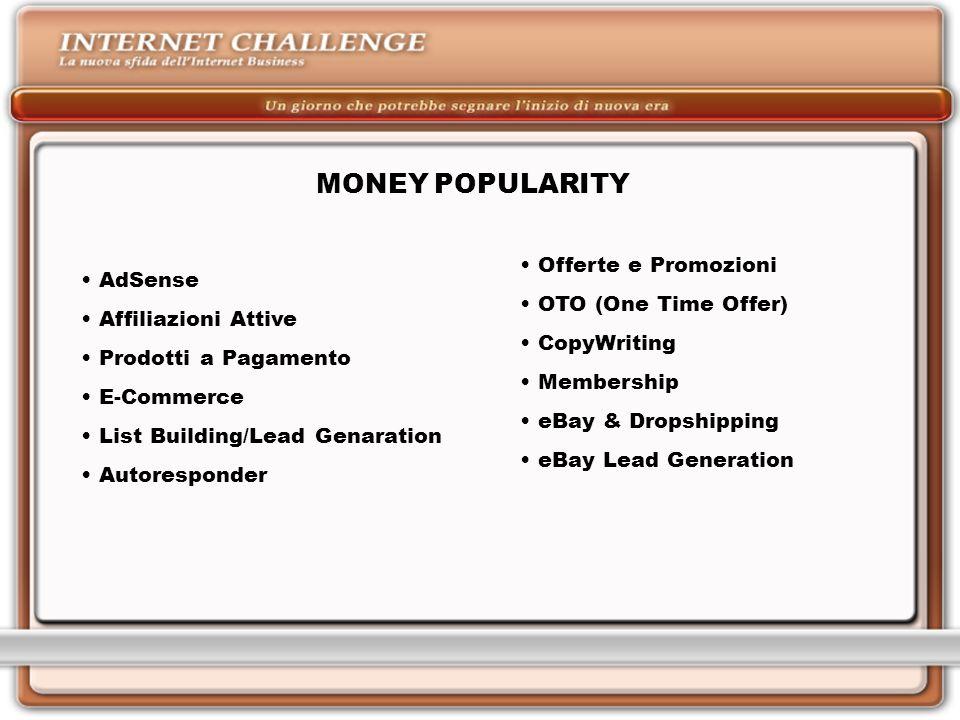 MONEY POPULARITY AdSense Affiliazioni Attive Prodotti a Pagamento E-Commerce List Building/Lead Genaration Autoresponder Offerte e Promozioni OTO (One Time Offer) CopyWriting Membership eBay & Dropshipping eBay Lead Generation