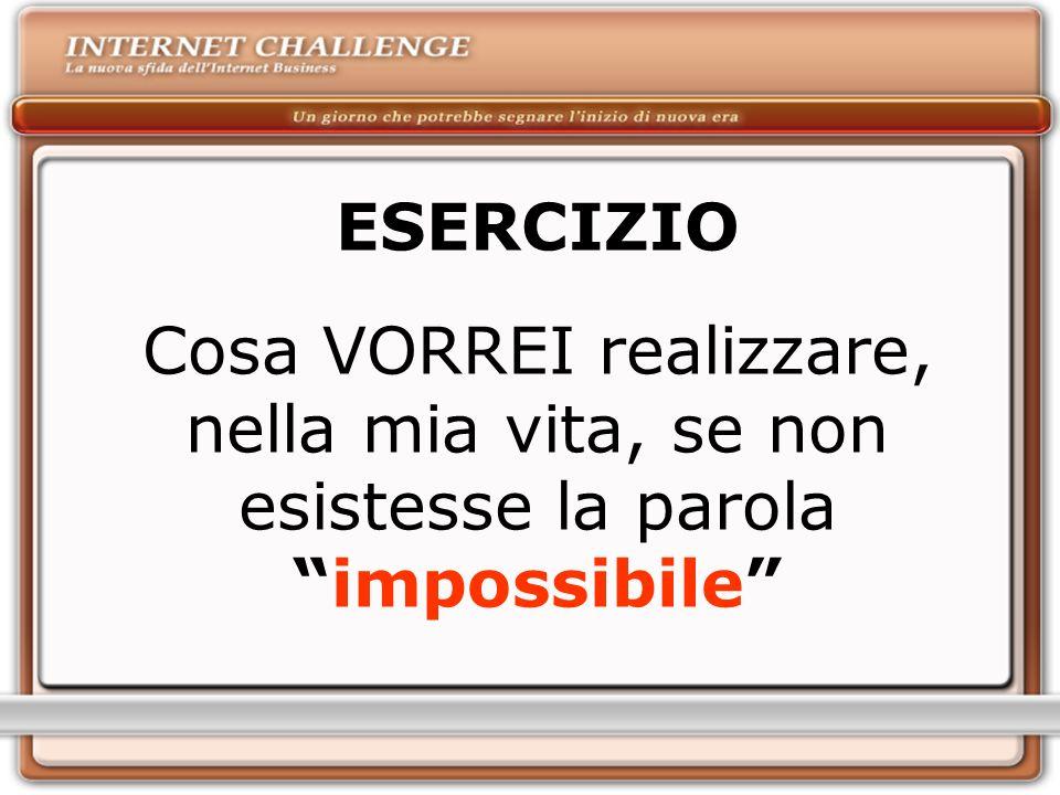 ESERCIZIO Cosa VORREI realizzare, nella mia vita, se non esistesse la parola impossibile