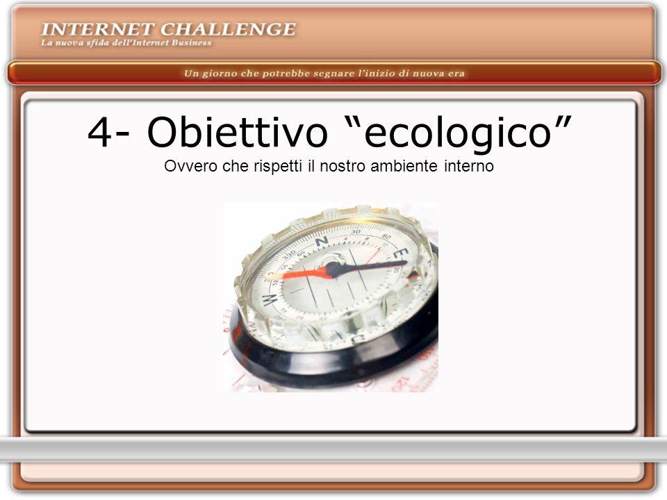 4- Obiettivo ecologico Ovvero che rispetti il nostro ambiente interno