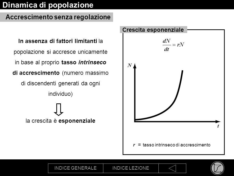 INDICE GENERALEINDICE LEZIONE Dinamica di popolazione In assenza di fattori limitanti la popolazione si accresce unicamente in base al proprio tasso i
