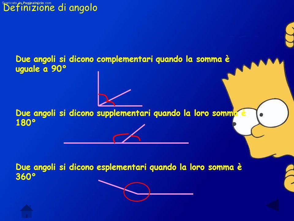 Definizione di angolo Langolo è una porzione di piano compresa tra due semirette con la stessa origine. Gli angoli possono essere concavi e convessi C