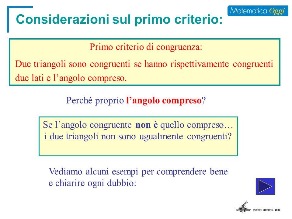 Considerazioni sul primo criterio: Primo criterio di congruenza: Se langolo congruente non è quello compreso… i due triangoli non sono ugualmente cong
