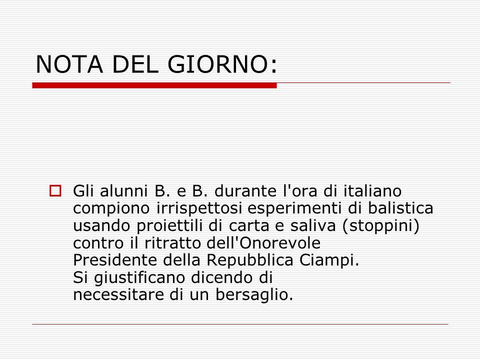 NOTA DEL GIORNO: Gli alunni B. e B. durante l'ora di italiano compiono irrispettosi esperimenti di balistica usando proiettili di carta e saliva (stop