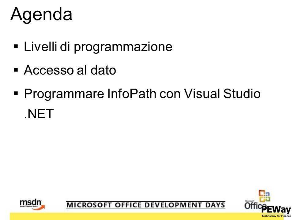 Agenda Livelli di programmazione Accesso al dato Programmare InfoPath con Visual Studio.NET
