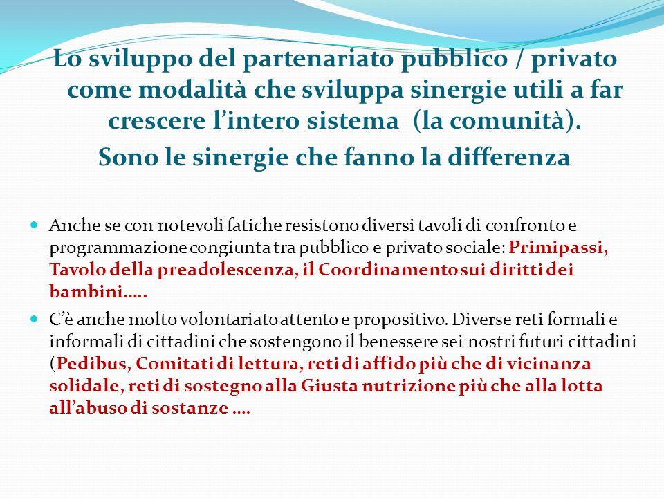 Lo sviluppo del partenariato pubblico / privato come modalità che sviluppa sinergie utili a far crescere lintero sistema (la comunità). Sono le sinerg