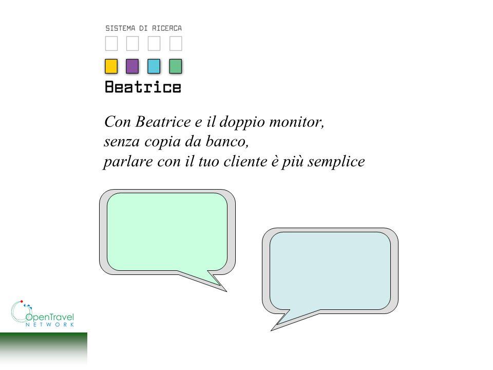Con Beatrice e il doppio monitor, senza copia da banco, parlare con il tuo cliente è più semplice