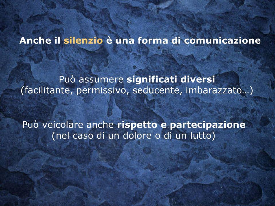 Anche il silenzio è una forma di comunicazione Può assumere significati diversi (facilitante, permissivo, seducente, imbarazzato…) Può veicolare anche
