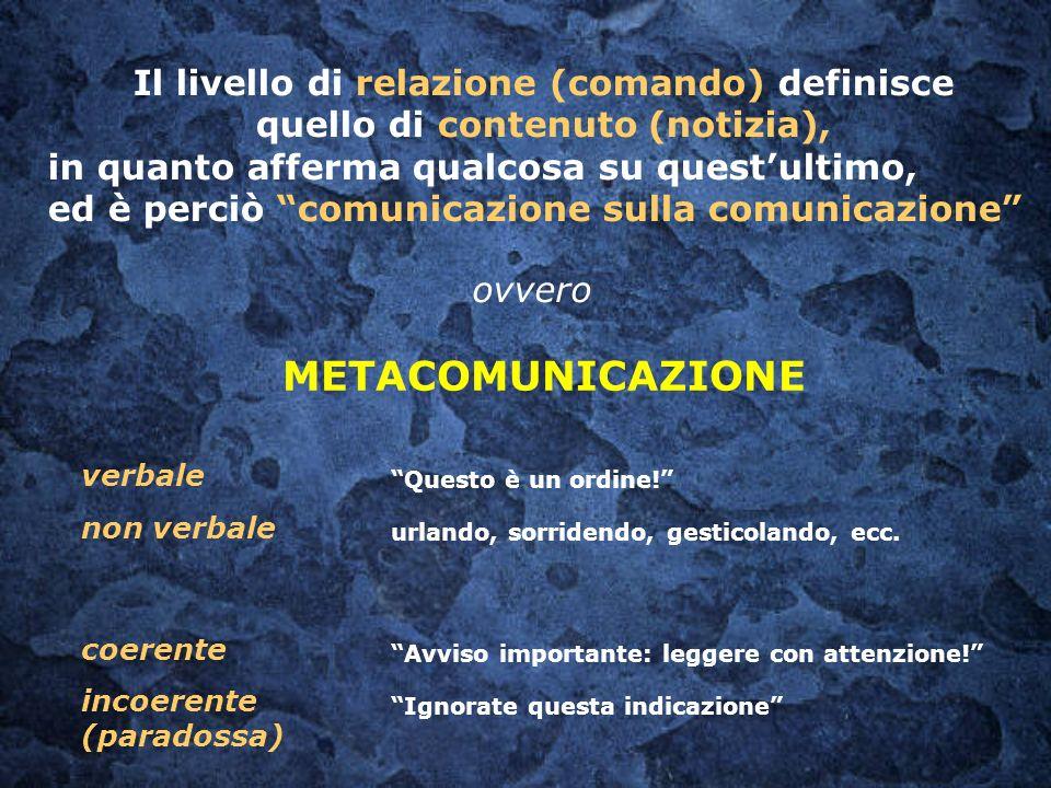 Il livello di relazione (comando) definisce quello di contenuto (notizia), in quanto afferma qualcosa su questultimo, ed è perciò comunicazione sulla