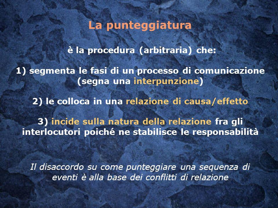 La punteggiatura è la procedura (arbitraria) che: 1) segmenta le fasi di un processo di comunicazione (segna una interpunzione) 2) le colloca in una r
