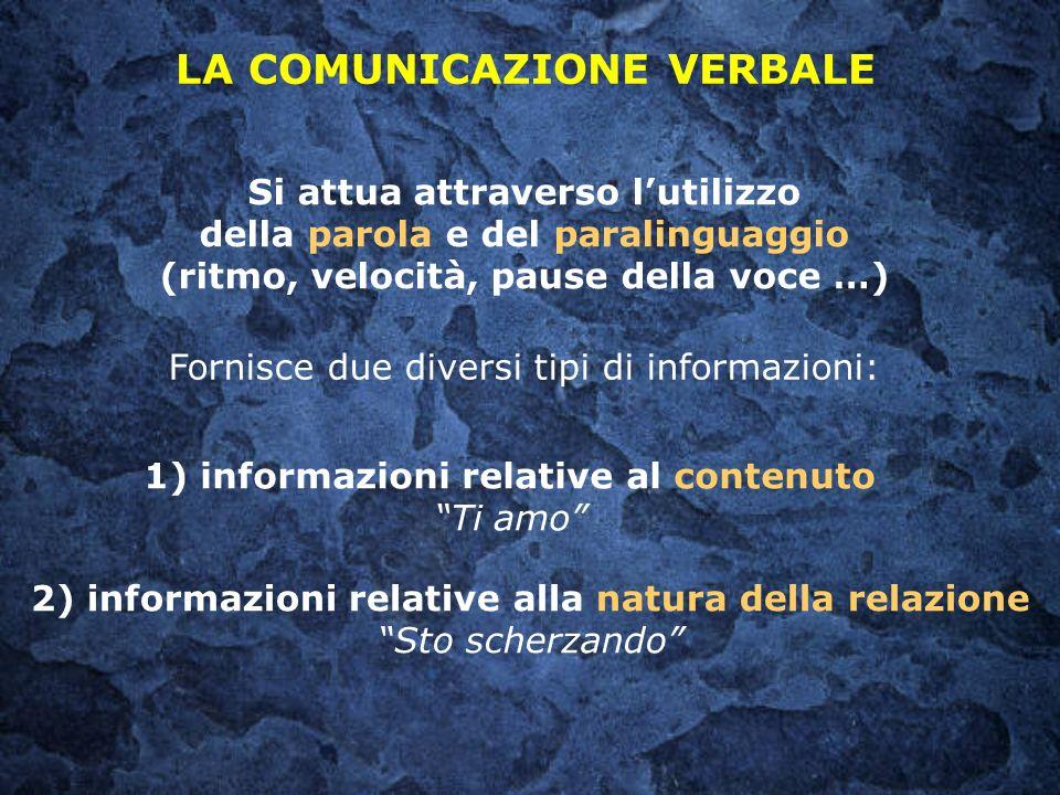 Si attua attraverso lutilizzo della parola e del paralinguaggio (ritmo, velocità, pause della voce …) LA COMUNICAZIONE VERBALE Fornisce due diversi ti