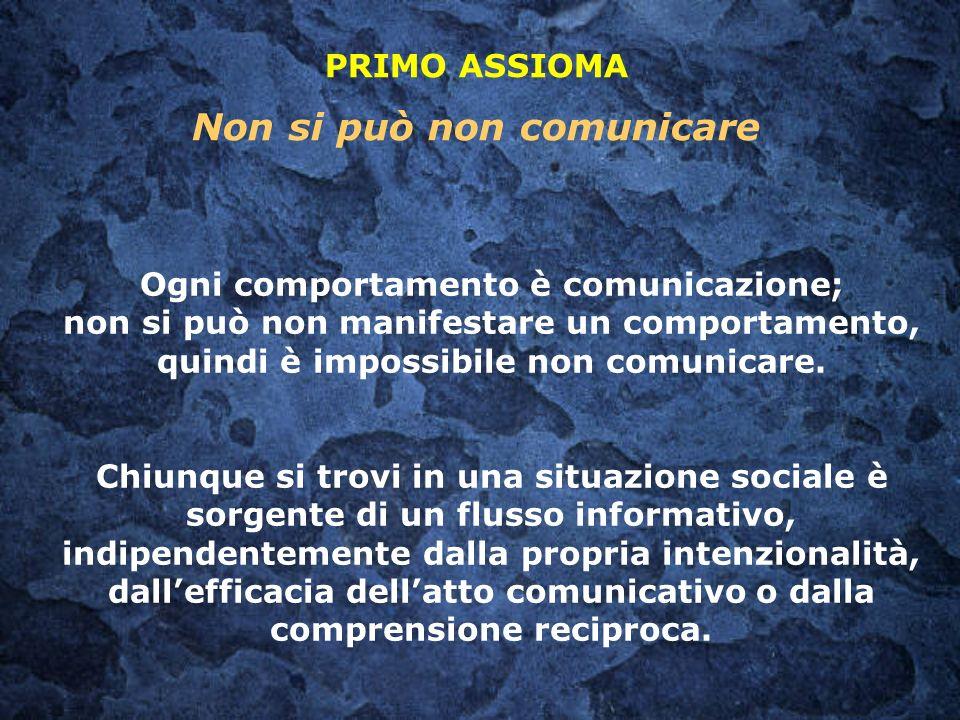 PRIMO ASSIOMA Non si può non comunicare Ogni comportamento è comunicazione; non si può non manifestare un comportamento, quindi è impossibile non comu