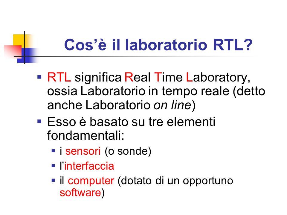 Cosè il laboratorio RTL? RTL significa Real Time Laboratory, ossia Laboratorio in tempo reale (detto anche Laboratorio on line) Esso è basato su tre e