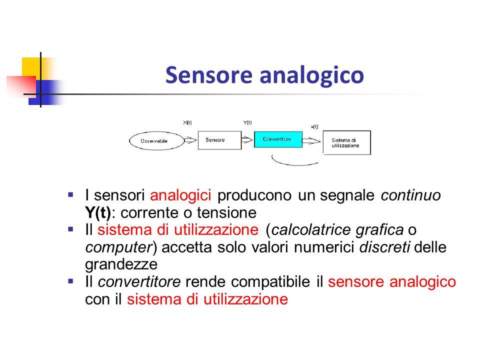 Sensore analogico I sensori analogici producono un segnale continuo Y(t): corrente o tensione Il sistema di utilizzazione (calcolatrice grafica o comp