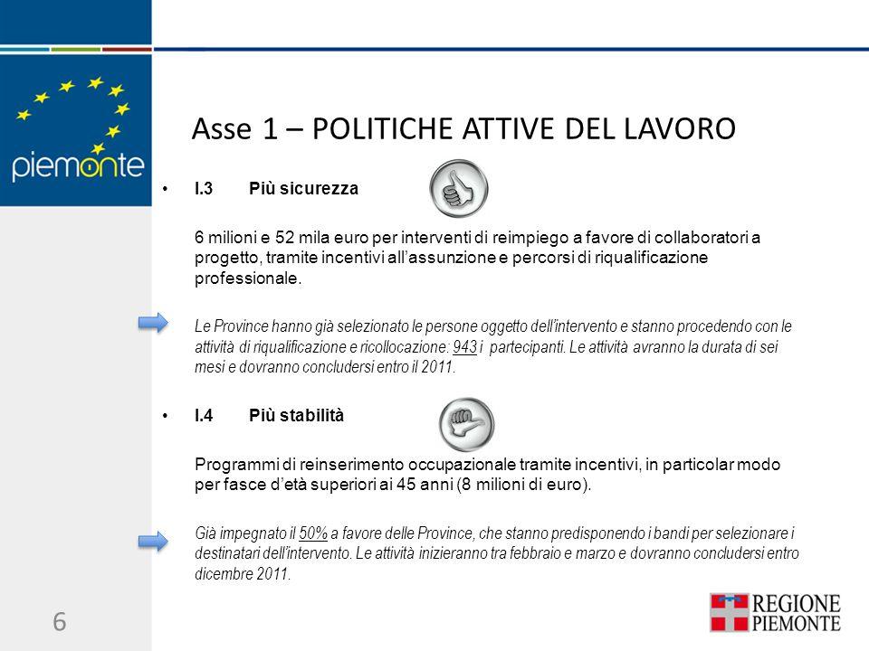 Asse 1 – POLITICHE ATTIVE DEL LAVORO I.3Più sicurezza 6 milioni e 52 mila euro per interventi di reimpiego a favore di collaboratori a progetto, tramite incentivi allassunzione e percorsi di riqualificazione professionale.