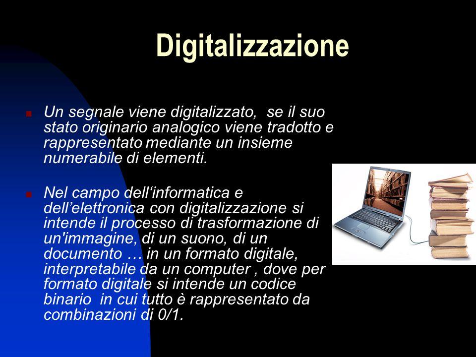 Digitalizzazione Un segnale viene digitalizzato, se il suo stato originario analogico viene tradotto e rappresentato mediante un insieme numerabile di