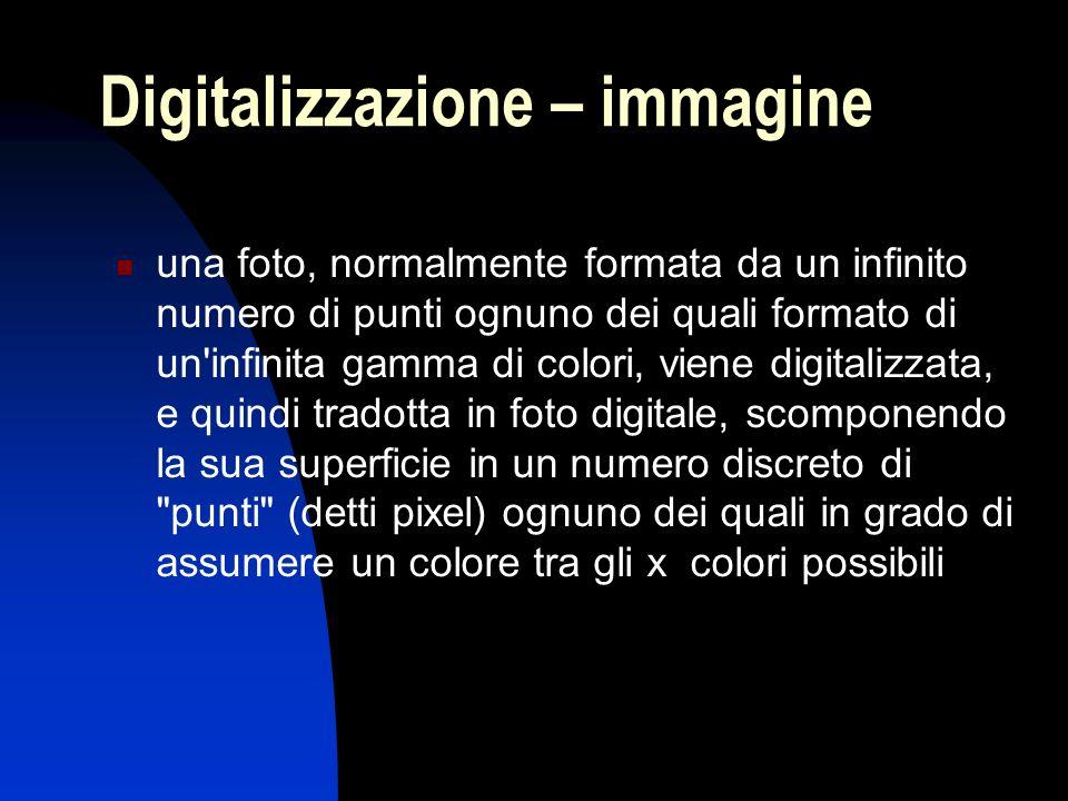 Digitalizzazione – immagine una foto, normalmente formata da un infinito numero di punti ognuno dei quali formato di un'infinita gamma di colori, vien