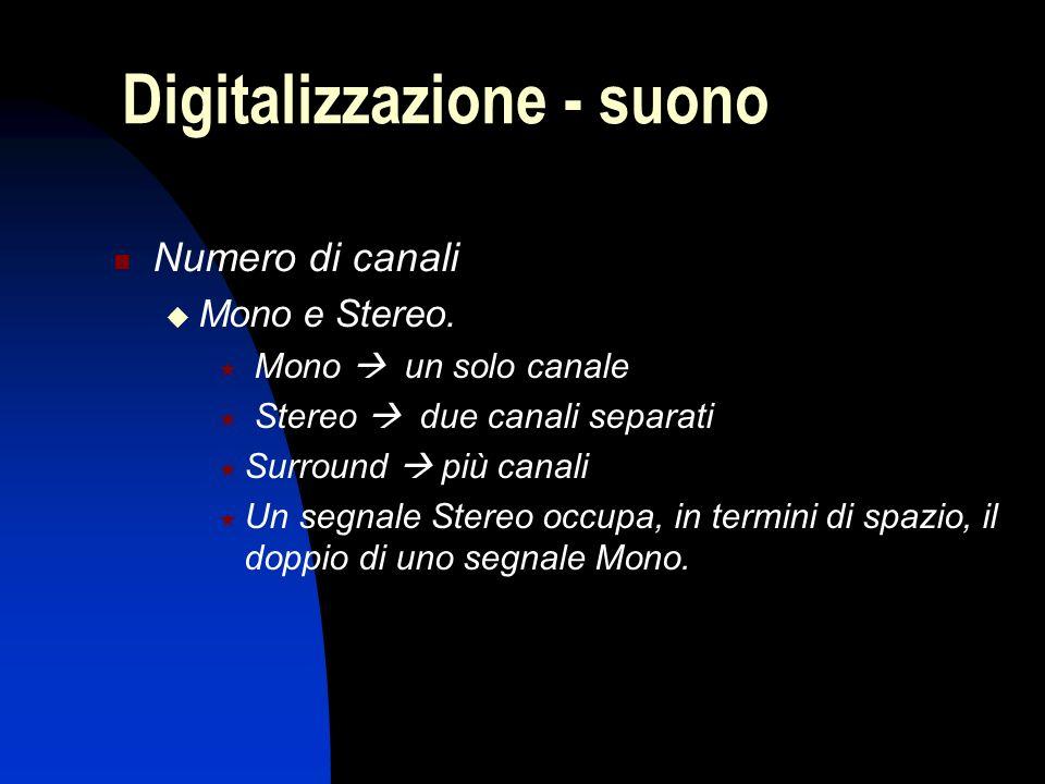 Numero di canali Mono e Stereo. Mono un solo canale Stereo due canali separati Surround più canali Un segnale Stereo occupa, in termini di spazio, il