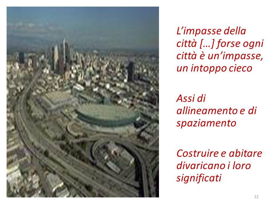 Limpasse della città […] forse ogni città è unimpasse, un intoppo cieco Assi di allineamento e di spaziamento Costruire e abitare divaricano i loro significati 12