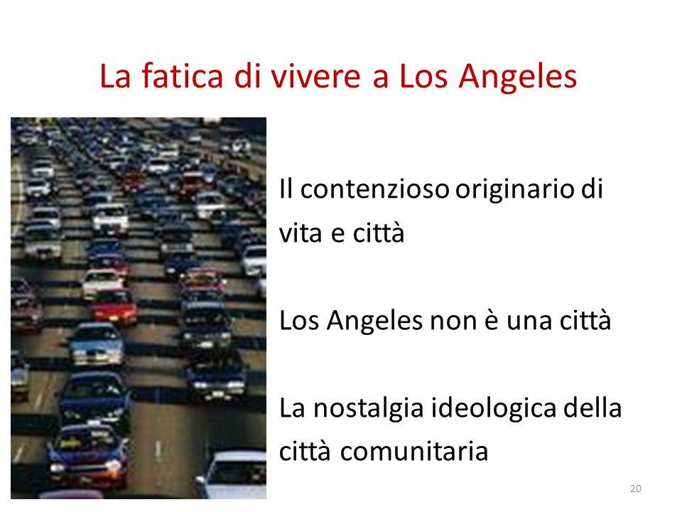La fatica di vivere a Los Angeles Il contenzioso originario di vita e città Los Angeles non è una città La nostalgia ideologica della città comunitaria 20