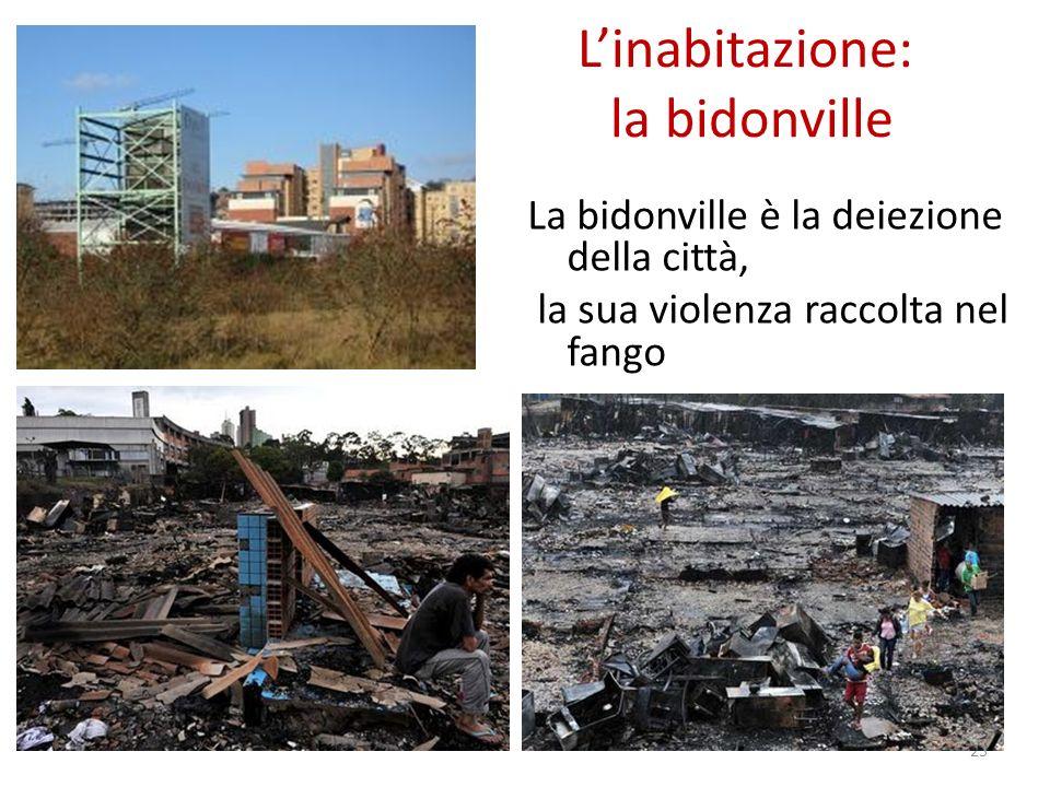 Linabitazione: la bidonville La bidonville è la deiezione della città, la sua violenza raccolta nel fango 25
