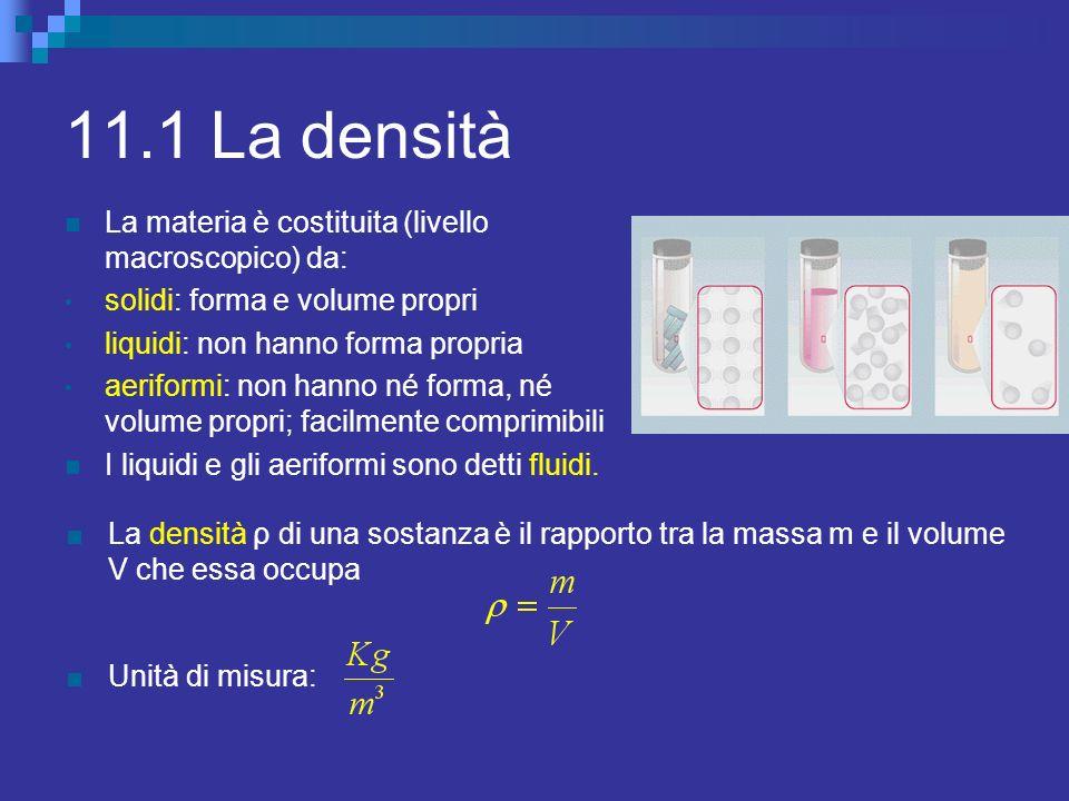 11.1 La densità La materia è costituita (livello macroscopico) da: solidi: forma e volume propri liquidi: non hanno forma propria aeriformi: non hanno