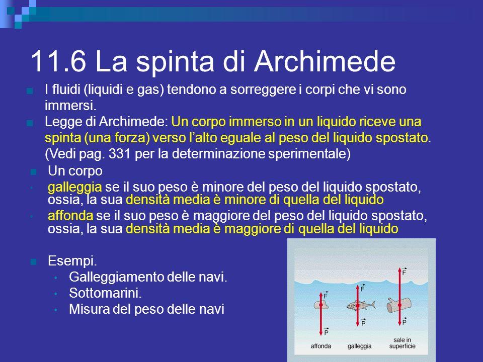 11.6 La spinta di Archimede Un corpo galleggia se il suo peso è minore del peso del liquido spostato, ossia, la sua densità media è minore di quella d