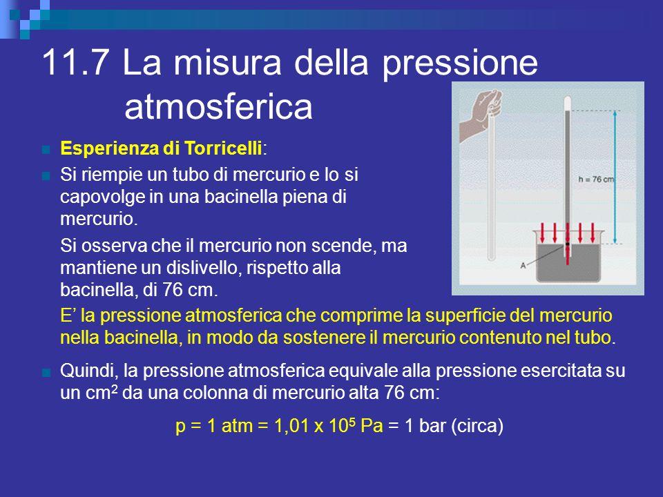 11.7 La misura della pressione atmosferica Esperienza di Torricelli: Si riempie un tubo di mercurio e lo si capovolge in una bacinella piena di mercur