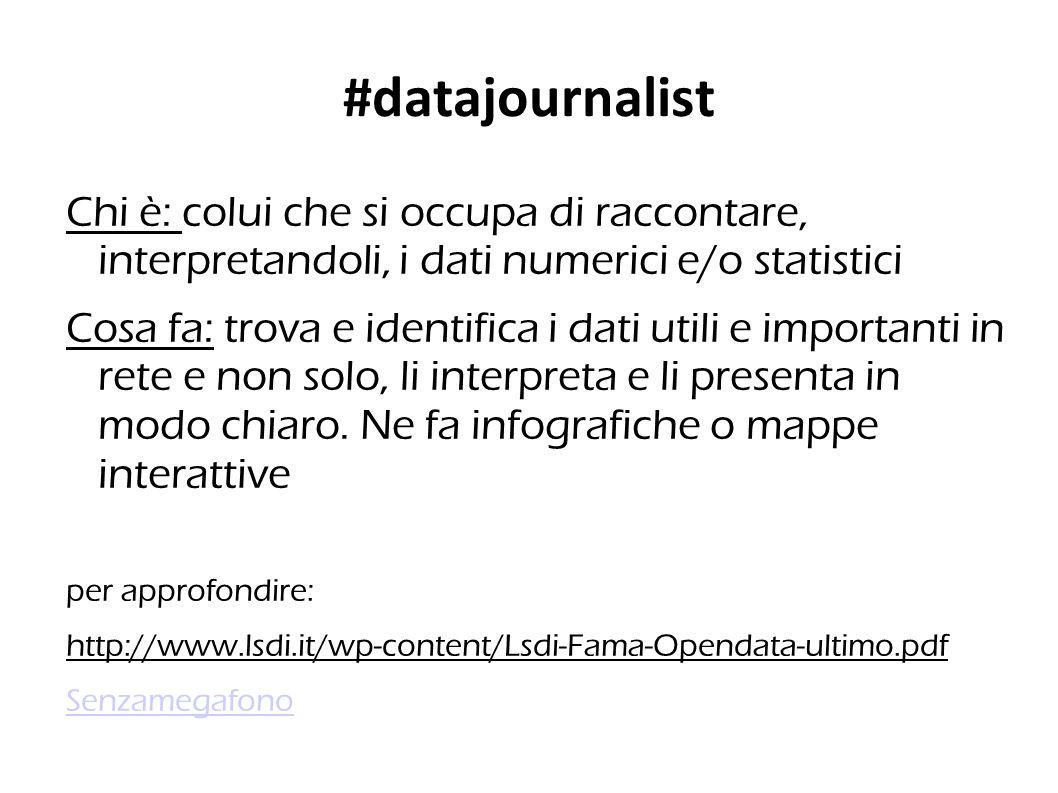 #datajournalist Chi è: colui che si occupa di raccontare, interpretandoli, i dati numerici e/o statistici Cosa fa: trova e identifica i dati utili e importanti in rete e non solo, li interpreta e li presenta in modo chiaro.
