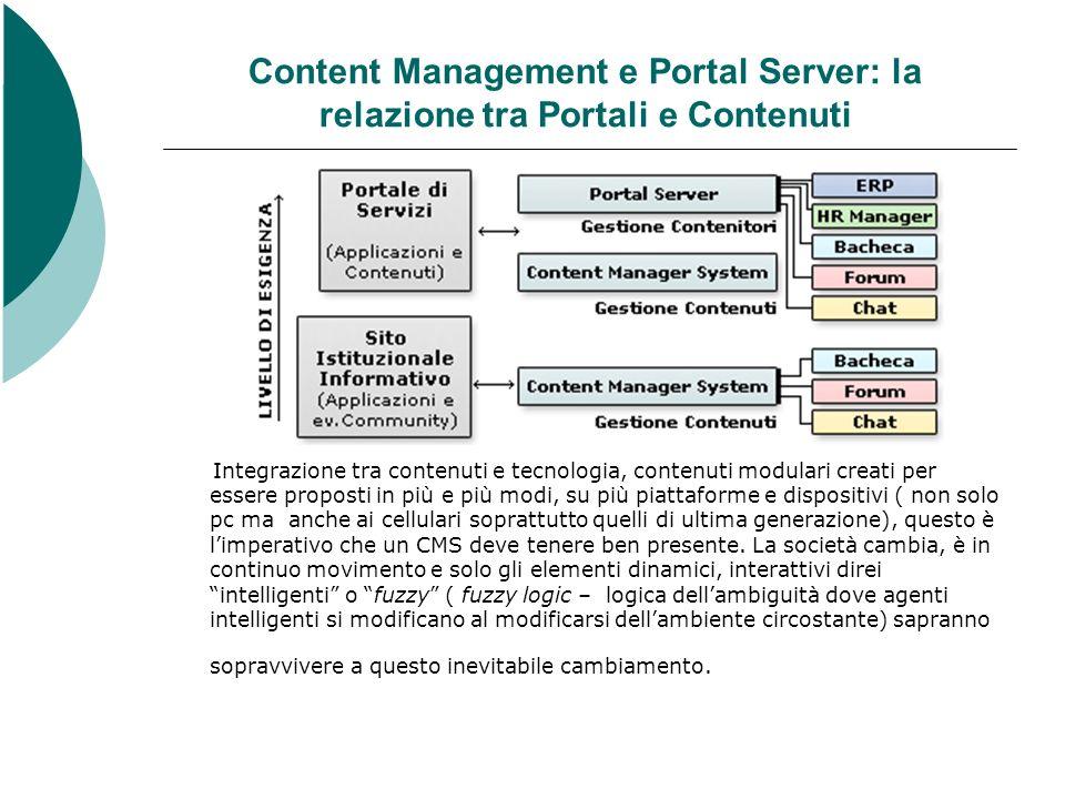 Content Management e Portal Server: la relazione tra Portali e Contenuti Integrazione tra contenuti e tecnologia, contenuti modulari creati per essere