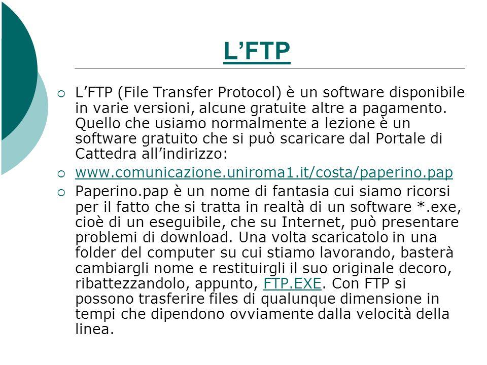 LFTP LFTP (File Transfer Protocol) è un software disponibile in varie versioni, alcune gratuite altre a pagamento. Quello che usiamo normalmente a lez