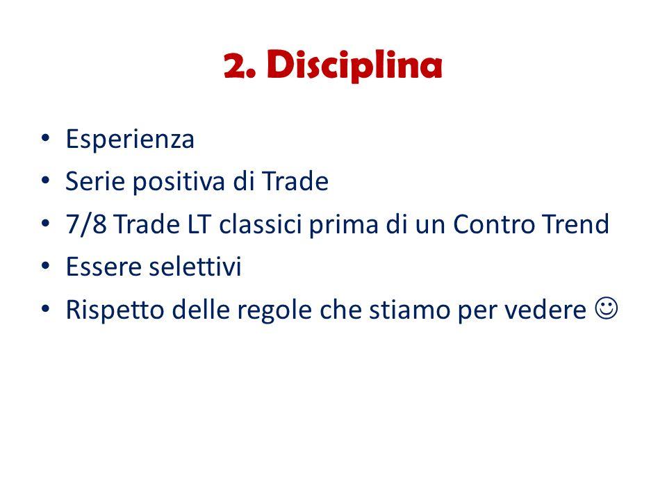 2. Disciplina Esperienza Serie positiva di Trade 7/8 Trade LT classici prima di un Contro Trend Essere selettivi Rispetto delle regole che stiamo per