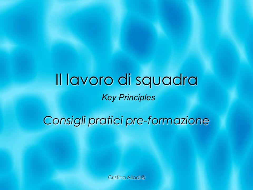 Cristina Allodi © Il lavoro di squadra Consigli pratici pre-formazione Key Principles