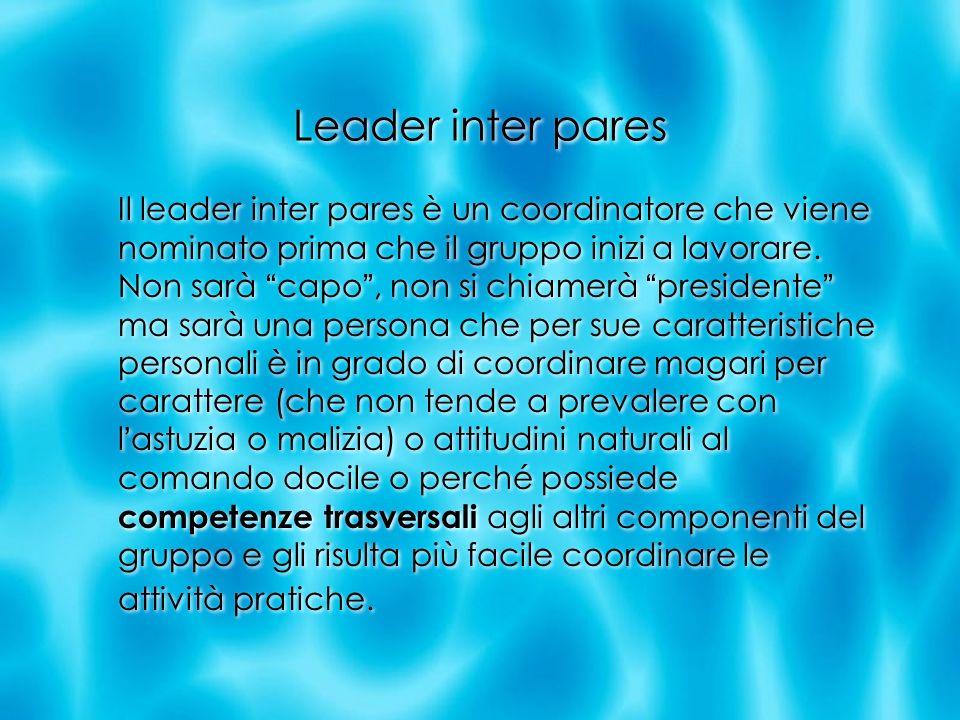 Leader inter pares Il leader inter pares è un coordinatore che viene nominato prima che il gruppo inizi a lavorare. Non sarà capo, non si chiamerà pre