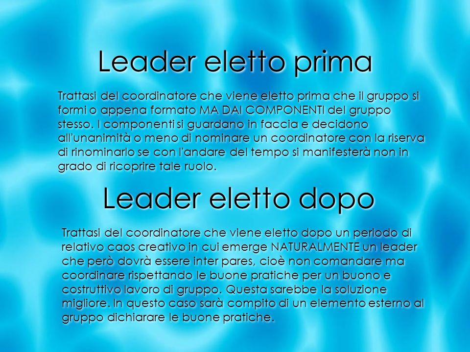 Leader eletto prima Trattasi del coordinatore che viene eletto prima che il gruppo si formi o appena formato MA DAI COMPONENTI del gruppo stesso. I co