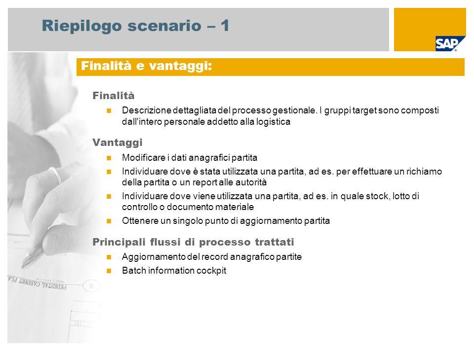 Riepilogo scenario – 1 Finalità Descrizione dettagliata del processo gestionale. I gruppi target sono composti dall'intero personale addetto alla logi