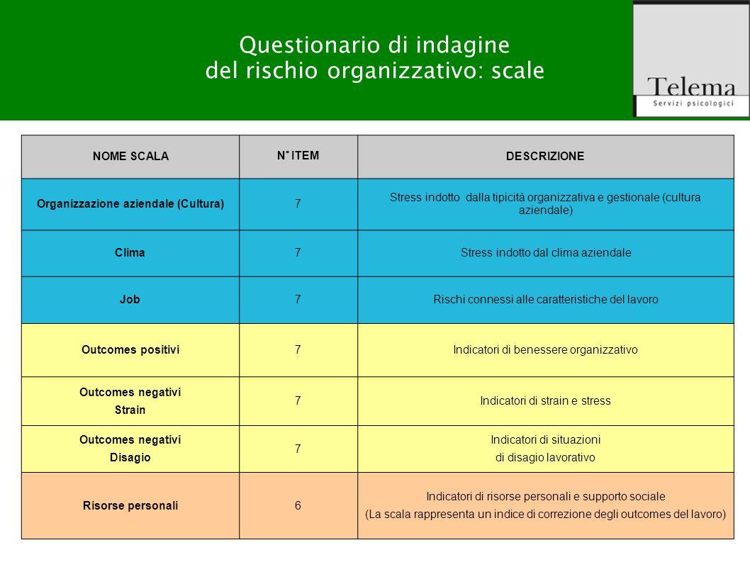 R. G. Zuffo, M. Barattucci Valutazione Rischio Stress-lavoro correlato NOME SCALA N° ITEM DESCRIZIONE Organizzazione aziendale (Cultura)7 Stress indot