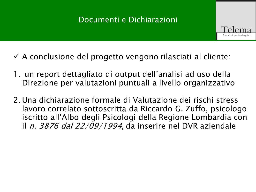 R. G. Zuffo, M. Barattucci Valutazione Rischio Stress-lavoro correlato Output del prodotto Documenti e Dichiarazioni A conclusione del progetto vengon
