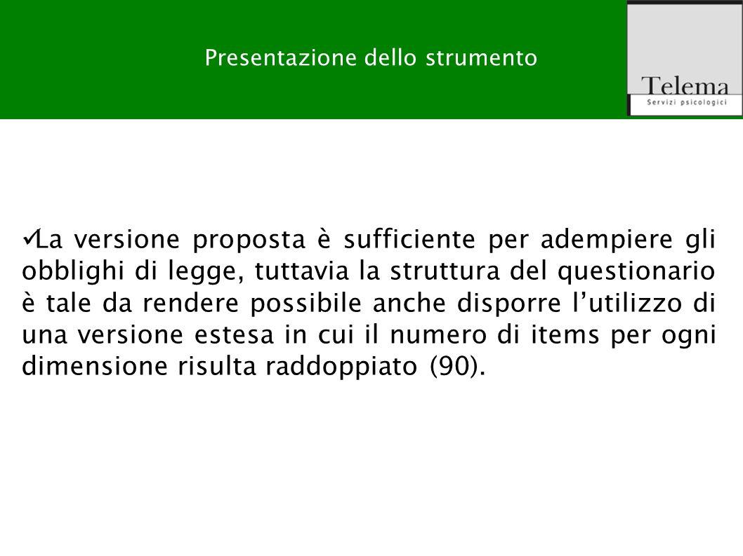R. G. Zuffo, M. Barattucci Valutazione Rischio Stress-lavoro correlato La versione proposta è sufficiente per adempiere gli obblighi di legge, tuttavi